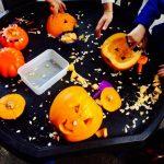 Tuff Tray using Pumpkins and utensils