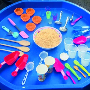 Cereal and utensil tuff tray